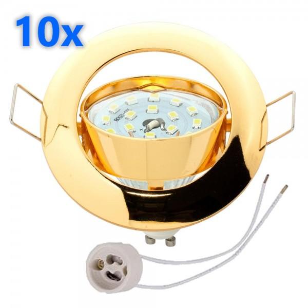10x led einbaustrahler set gold 3w gu10 leuchtmittel 230v. Black Bedroom Furniture Sets. Home Design Ideas