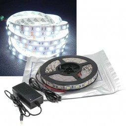5m LED Strip Set SMD 5050 Kaltweiß IP20 für Innen mit Netzteil 12V 60 LED/m
