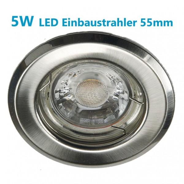 5W LED Einbaustrahler starr GU10 GU5,3 Metall gebürstet 345lm 2700K