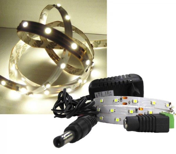 LED Strip Komplettset 1m - 60 SMDs - 3528 - einfarbig WARMWEIß
