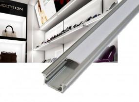 1m Montage Alu Profil mit Abdeckung für LED Strips zum einlassen