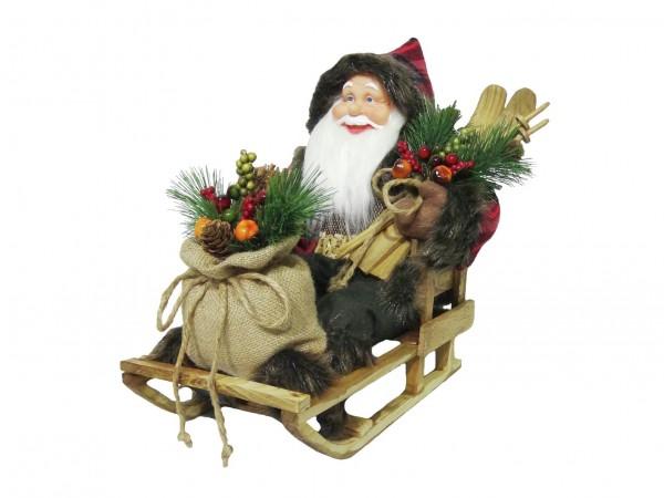 EUROPALMS Weihnachtsmann mit Schlitten, 45cm