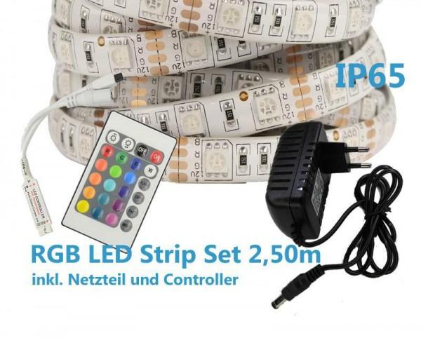 RGB LED Strip Komplettset 2,5m IP65 - 300 SMD/m 5050