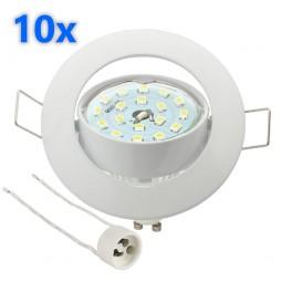 10x LED Einbaustrahler Set weiß 3W GU10 Leuchtmittel 230V