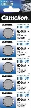 5x Lithium Knopfzelle CAMELION CR2025 3V Blister