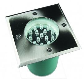 Eckiger LED Bodenstrahler Edelstahl warmweiß 230V IP67