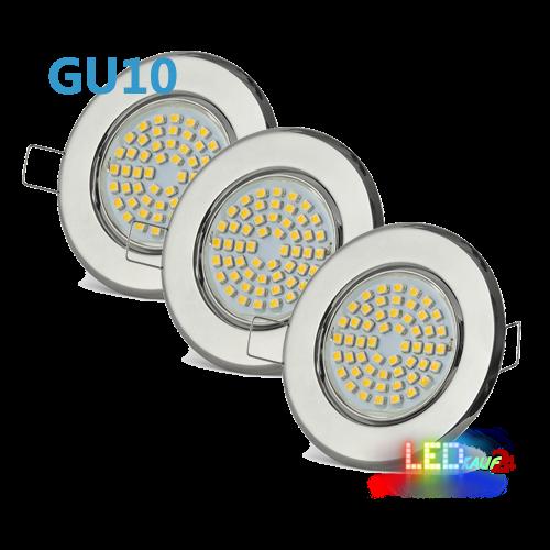 LED Einbaustrahler Set Chrom schwenkbar mit 5W GU10 Leuchtmittel und Fassung 230V