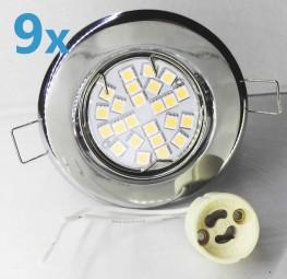 9x LED Einbaustrahler Set Chrom schwenkbar mit 4,5W GU10 Leuchtmittel und Fassung 230V