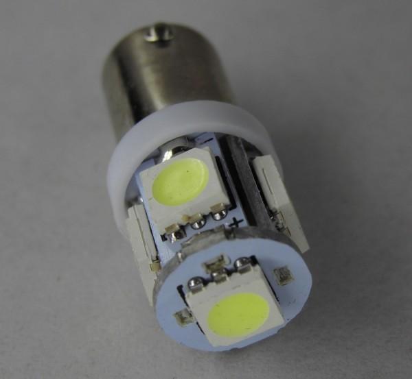 LED T4W BA9S 1w 5 x 5050 SMD 12V Licht Xenon weiß