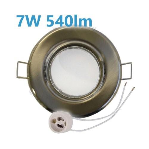 7W LED Einbaustrahler Edelstahl gebürstet schwenkbar mit GU10 Leuchtmittel und Fassung 230V