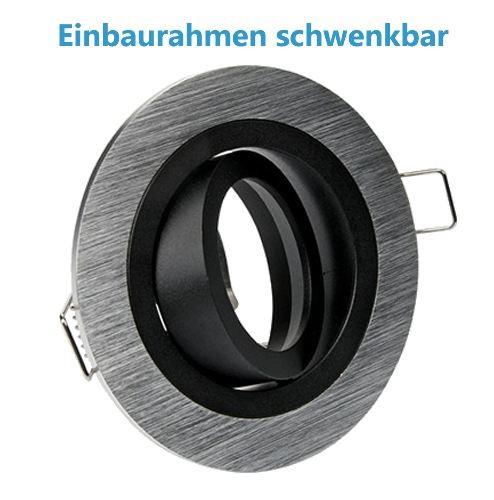 Einbaurahmen Alu gebürstet innen schwarz schwenkbar ohne Sprengring