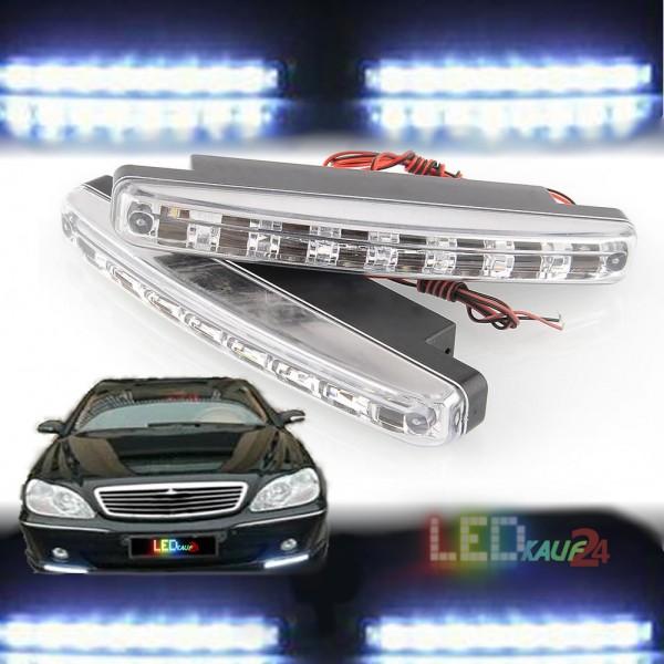 LED Tagfahrlicht TFL DRL mit E4 Prüfzeichen 2 x 8 SMD LED Tagfahrlichter