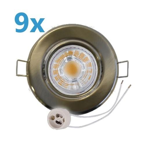 9x LED Einbaustrahler Set Edelstahl gebürstet schwenkbar mit 4W GU10 Leuchtmittel und Fassung 230V