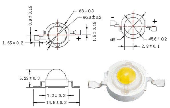 Technische-Zeichnung-weisser-3W-LED-High-Power-Chip