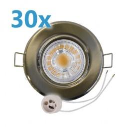 30x LED Einbaustrahler Set Edelstahl gebürstet schwenkbar mit 5W GU10 Leuchtmittel und Fassung 230V