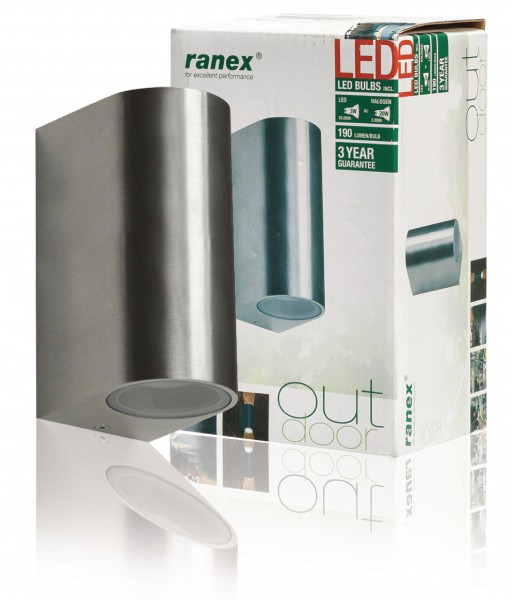 Ranex LED Außen-Wandleuchte Kimi SMD up-down chrom 2x 3W GU10 IP44