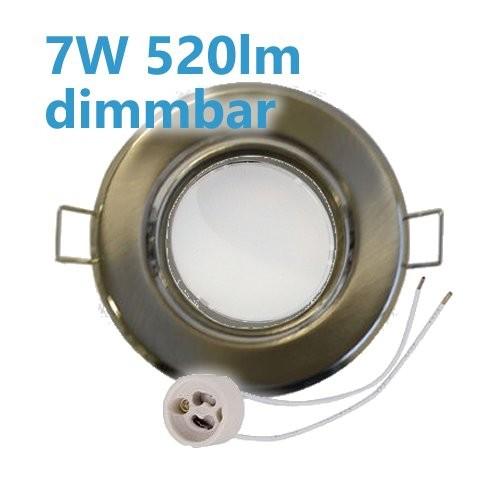 Dimmbarer 7W LED Einbaustrahler Edelstahl gebürstet schwenkbar mit GU10 Leuchtmittel und Fassung 230