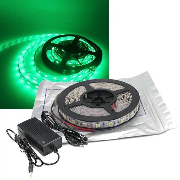 5m LED Strip Set SMD 5050 Grün IP20 für Innen mit Netzteil 12V 60 LED/m