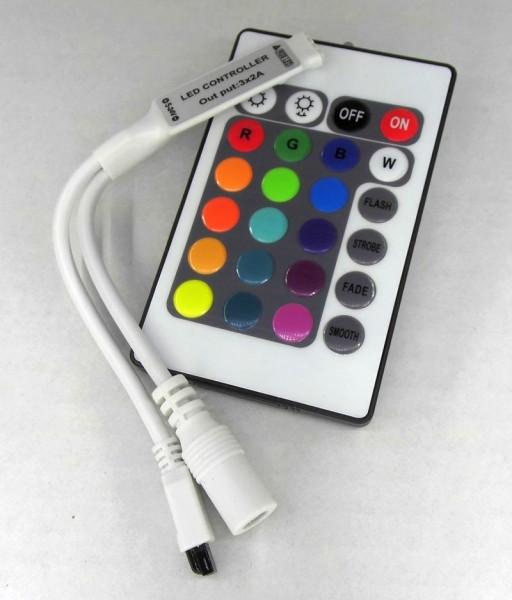 Mini RGB Controller und Dimmer mit 24 Tasten Fernbedienung 5-24V 6A IR lang