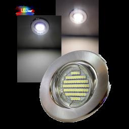 LED Einbaustrahler Edelstahl gebürstet schwenkbar mit 3W GU10 Leuchtmittel und Fassung 230V