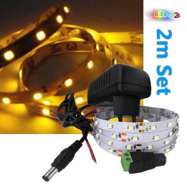 LED Streifen Komplettset 2m - 60 SMDs - 3528 - einfarbig GELB