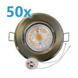 50x LED Einbaustrahler gebürstet schwenkbar mit 4W GU10 Leuchtmittel und Fassung 230V