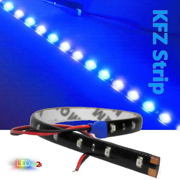 KFZ LED Streifen 30 cm 15 LED Auto Strip BLAU IP65