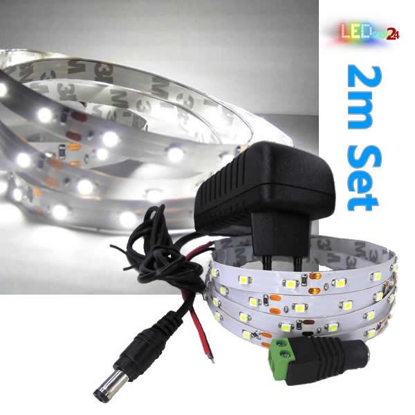 LED Streifen Komplettset 2m - 60 SMDs - 3528 - einfarbig KALTWEIß