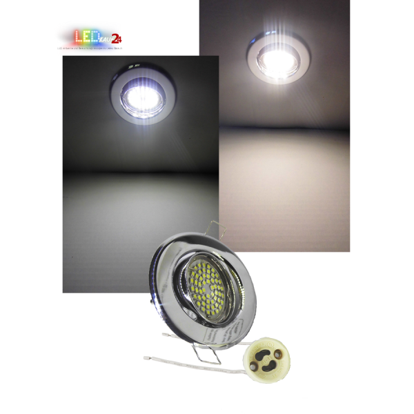 LED Einbaustrahler Chrom schwenkbar mit 5W GU10 Leuchtmittel und Fassung 230V
