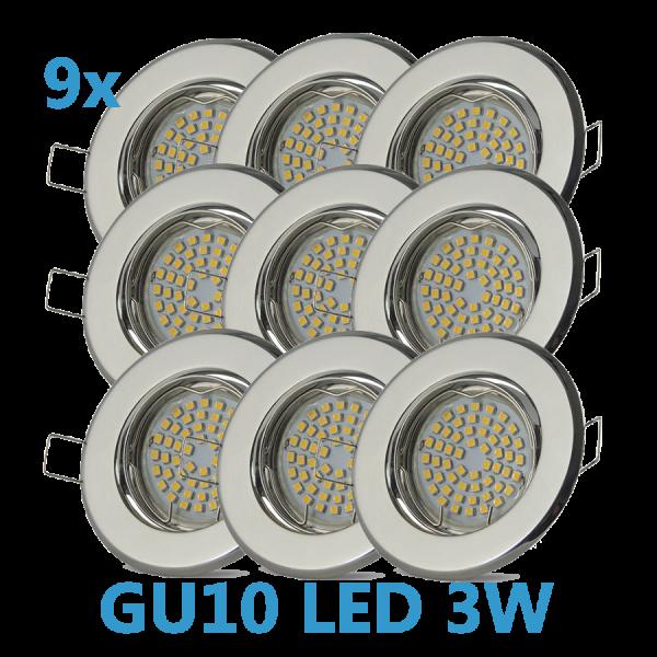 9x LED Einbaustrahler Set Chrom schwenkbar mit 3W GU10 Leuchtmittel und Fassung 230V