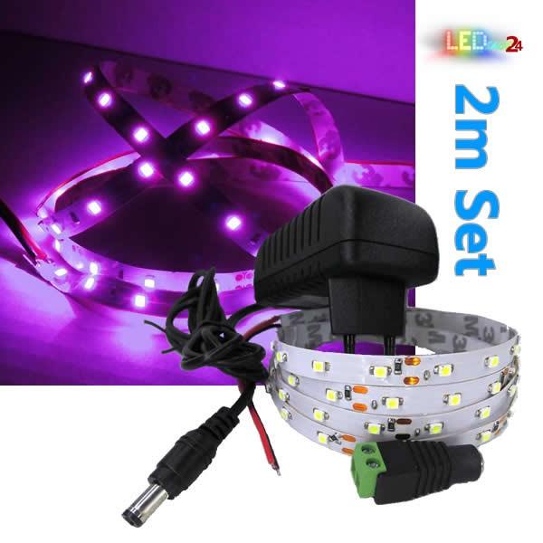 LED Streifen Komplettset 2m - 60 SMDs - 3528 - einfarbig PINK