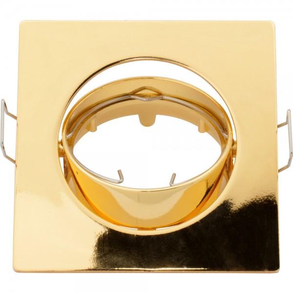 Eckiger Einbaurahmen gold für GU10 / MR16 Leuchtmittel