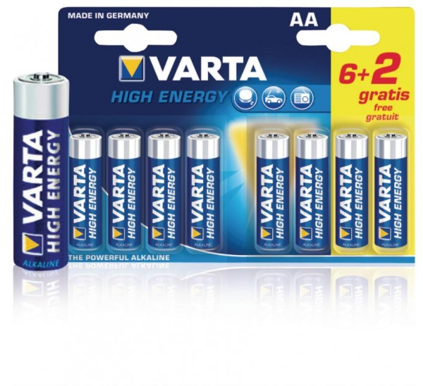 VARTA 8 Alkaline Batterien AA 1.5V High Energy