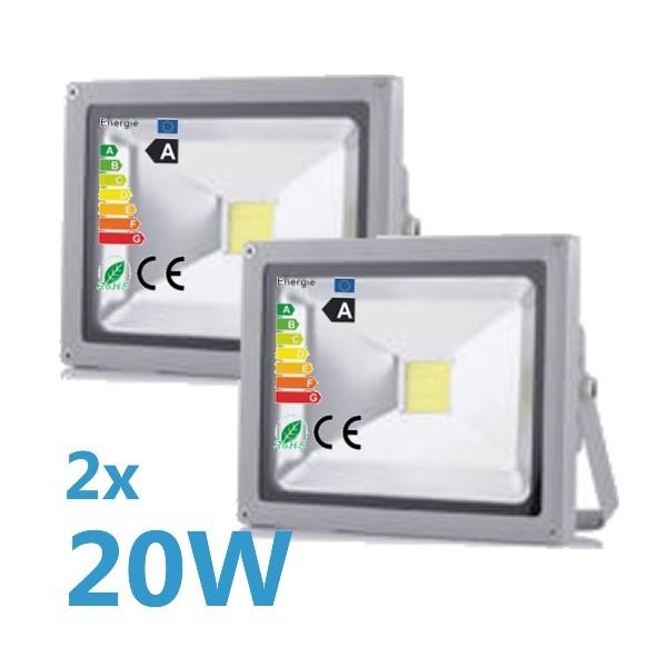 2x LED Fluter 20W 230V COB High Power Strahler IP65