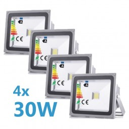 4x LED Fluter 30W 230V COB High Power Strahler IP65
