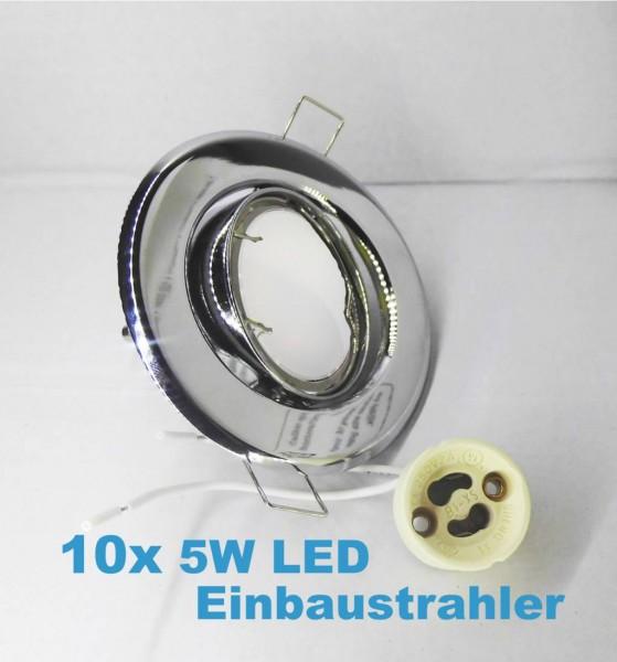 10x LED Einbaustrahler Set schwenkbar mit 5W GU10 Leuchtmittel 100° und Fassung 230V