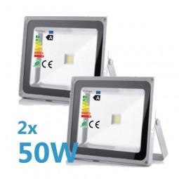 2x LED Fluter 50W 230V COB High Power Strahler IP65