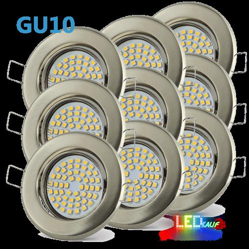 9x LED Einbaustrahler Set Edelstahl gebürstet schwenkbar mit 3W GU10 Leuchtmittel und Fassung 230V