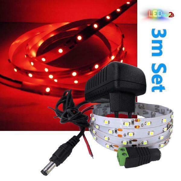 LED Streifen Komplettset 3m - 60 SMDs - 3528 - einfarbig ROT