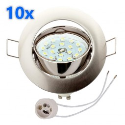 10x LED Einbaustrahler Set gebürstet 3W GU10 Leuchtmittel 230V