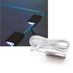 RGB LED Glaskantenbeleuchtung Set mit 2 Clips, Controller & Netzteil