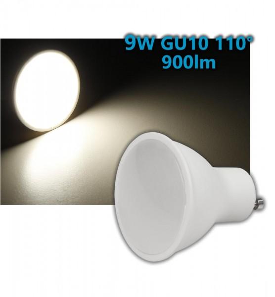 9W GU10 LED Leuchtmittel warmweiß 110° 900lm 3000K 50mm 230V
