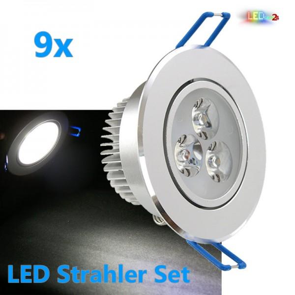 9x LED Einbaustrahler Set 3W KALTWEIß / WARMWEIß inkl. Trafo Aluminium