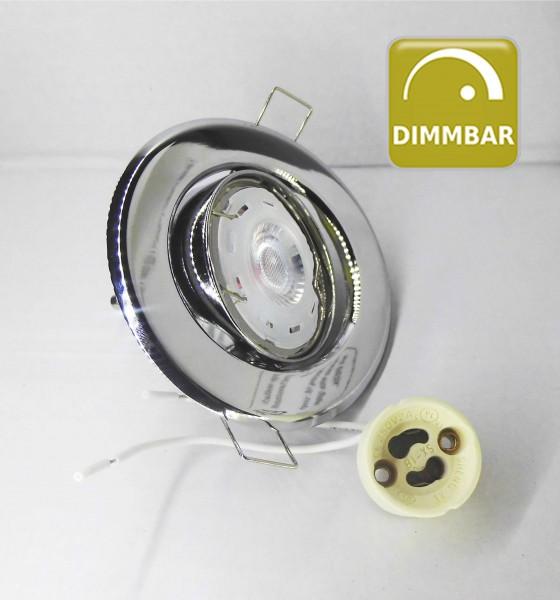 Dimmbarer LED Einbaustrahler schwenkbar mit 7W GU10 Leuchtmittel und Fassung 230V