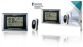 König Thermo-Hygrometer Wetterstation Innen- und Außenbereich Schwarz Silber