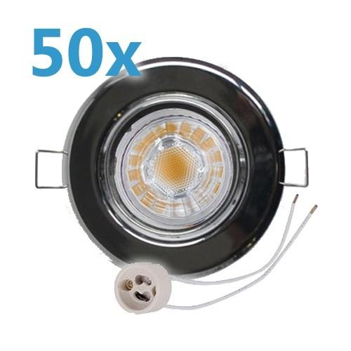 50x led einbaustrahler chrom schwenkbar mit 4w gu10 leuchtmittel und fassung 230v. Black Bedroom Furniture Sets. Home Design Ideas