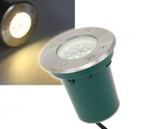 Runder LED Bodenstrahler Edelstahl warmweiß 230V IP67