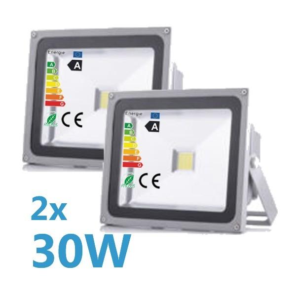 2x LED Fluter 30W 230V COB High Power Strahler IP65