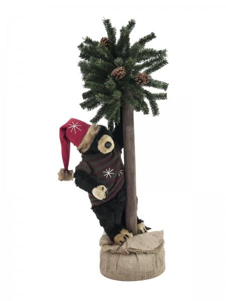 EUROPALMS Weihnachtsbär, mit Tanne, 105cm