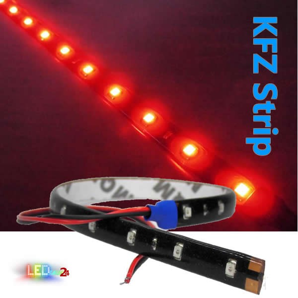 KFZ LED Streifen 30 cm 15 LED Auto Strip ROT IP65